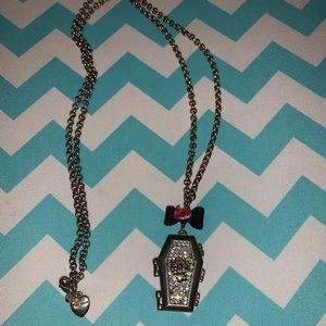 Betsey Johnson skull grave necklace